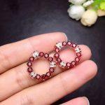 [MeiBaPJ]Top Quality Natural Garnet Gemstone <b>Earrings</b> Real 925 <b>Silver</b> Stud <b>Earrings</b> Fine Charm Jewelry for Women