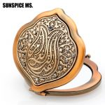 New Key Chain Turkish Women Relief Ethnic Portable Folding Box For Cosmetic Mirror Daily <b>Supplies</b> Antique Gold <b>Jewelry</b> Lady Gift