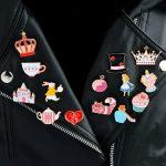 14pcs/set Alice's Adventures in Wonderland Brooches Collar Corsage Shirt bag cap Jacket Pin Badge <b>Jewelry</b> Gift for Kids Girls