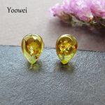 Yoowei 100% Amber Earrings Wholesale 3 Optional Tiny Teardrop Chic Creative Natural Baltic Amber Stud Earrings <b>Jewelry</b> <b>Supplies</b>