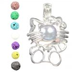 Charms Cat Essential Oil Diffuser for diy Pearl Cage <b>Jewelry</b> <b>Supplies</b> Locket Pendant Copper Silver 10pcs Mixed Wholesale