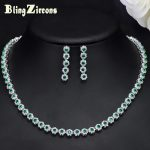 BlingZircons Elegant Green Crystal And CZ Stone Costume Earrings <b>Necklace</b> <b>Jewelry</b> Sets For Women Wedding Party Accessories JS110