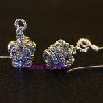 Justin New 925 <b>sterling</b> <b>silver</b> Zircon crown meticulous Thai <b>silver</b> <b>earrings</b> one pair