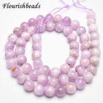 High Quality Natural Kunzite Stone Round Loose Beads 6mm 8mm 10mm 12mm DIY <b>Jewelry</b> making <b>supplies</b>
