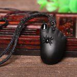 Light litzi natural Matte Black Obsidian pendant <b>jewelry</b> wholesale <b>supply</b> of men and women as a necklace