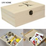 LVV HOME Home wooden Storage Box/storage <b>supplies</b> Postcard coin stamp boxes With Golden Lock <b>Jewelry</b> Case Wedding gift