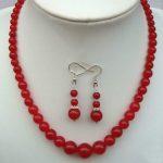 Women's Wedding Noble Elegant 6-14mm Red gem <b>Jewelry</b> Necklace/Earrings Set Bridal wide watch real silver-<b>jewelry</b>