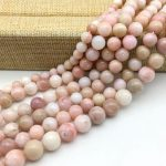 Natural Pink Opal Stone Round Spacer Beads 6 mm 8 mm 10 mm 12 mm DIY <b>Jewelry</b> Making <b>Supplies</b>