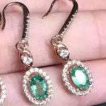 natural green emerald <b>earrings</b> 925 <b>silver</b> Natural gemstone <b>earring</b> women classic elegant round <b>earrings</b> for anniversary
