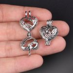 10pcs Silver Love Mom Pearl Cage <b>Jewelry</b> Making <b>Supplies</b> Bead Cage Pendant Essential Oil Diffuser For Pearl Jewellry
