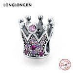 Luxury 925 Sterling Silver Pave Pink Purple CZ Crown Charm Beads Fit Pandora Bracelet Bangle DIY Fine <b>Jewelry</b> accessories <b>supply</b>