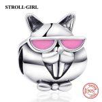 StrollGirl 925 silver cute squirrel charms beads fit original pandora charm bracelet diy <b>jewelry</b> accessories factory <b>supply</b> gift