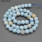 Matte Natural Mix Color Smooth Aquamarine Stone Round Loose Beads <b>Jewelry</b> making <b>supplies</b>