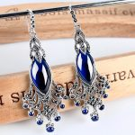 Luxurious New Pure 925 <b>Sterling</b> <b>Silver</b> with Blue Peacock Dangle <b>Earrings</b>