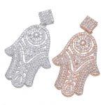 <b>Jewelry</b> Making <b>Supplies</b> High Quality Copper Metal Inlay Zirconia Rhinestone Hamsa Hand Pendants For DIY Pearl Tassel Necklace