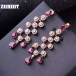 ZHHIRY Natural Garnet <b>Earring</b> Genuine Solid 925 <b>Sterling</b> <b>Silver</b> Real Gems <b>Earrings</b> Women Stone Fine Jewelry