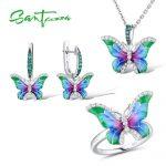 SANTUZZA Jewelry Set HANDMADE Enamel CZ Stones Butterflies Ring <b>Earrings</b> Pendent Necklace 925 <b>Sterling</b> <b>Silver</b> Women Jewelry Set