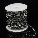 Gun Black Glass Quartz Faceted Rondelle Beads Chains,Rosary Plated Silver Wire Wrapped Link Bracelet <b>Supplies</b> Necklace Wholesale