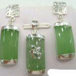Women's Wedding Natural Light Green gem 18KWGP Fortune Pendant Earrings & Necklace Set silver-<b>jewelry</b> real silver <b>jewelry</b>