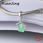 Aliexpress recommend blue&green enamel little house charms beads 925 silver fit original pandora bracelet <b>jewelry</b> factory <b>supply</b>