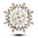Hot! Beautiful Flower shape rhinestones women brooches pearl <b>jewelry</b> brooches for charming gift 4982-1-68