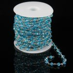 Rosary Sky Blue Glass Quartz Faceted Rondelle Beads Chains,Plated Silver Wire Wrapped Link Making Necklace <b>Supplies</b> Wholesale