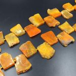 Flat Trapezoid Agate Slice Beads Orange/Yellow Agate Pendant Beads Slab Nugget Beads Graduated Agate Gemstone Beads <b>Supplies</b> 22-