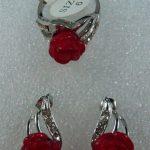 Women's Wedding <b>Jewelry</b> Heart Red GEM Flower Stud Earring Ring Set silver-<b>jewelry</b> moda real silver-<b>jewelry</b>