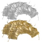 40 Pieces Organza Drawstring Pouch Gift Bag Wedding <b>Jewelry</b> Pouch Gold Silver Wholesale Retailer <b>Supply</b>
