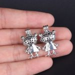 10pcs Silver Bear Man Pearl Cage <b>Jewelry</b> Making <b>Supplies</b> Bead Cage Pendant Essential Oil Diffuser For Pearl Jewellry