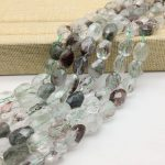 Faceted Natural Green Moss Brown Line Crystals Beads Stone Faceted Nugget Spacer 10-14 mm DIY <b>Jewelry</b> Making <b>Supplies</b> Rare Bead