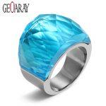 Crystal Wedding Ring for Women Elegant Design 316L Stainless Steel <b>Supplies</b> Big Glass Rings Fashion <b>Jewelry</b>