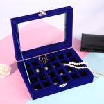 24 Slots Velvet Women Desk <b>Jewelry</b> Storage Box Portable Ring Necklace <b>Jewelry</b> Carrying Case Women Home Storage <b>Supplies</b>