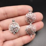 10pcs Bright Silver Round Vines Pearl Cage Locket Essential Oil Diffuser Beads Cage <b>Jewelry</b> Making <b>Supplies</b> for Oyster Pearl