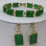 Prett Lovely Women's Wedding Green gem bracelet earrings set>AAA GP Bridal wide watch wings queen JEWE silver <b>jewelry</b> brinco