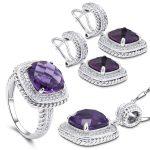 YY Fine Jewelry 925 <b>Sterling</b> <b>Silver</b> Romantic Diamond Boutique Lavender Amethyst Fashion woman Bohemia Set Ring <b>Earring</b> Pendant