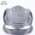 HELON Finish Mens 0.88ct Genuine Natural Diamond Wedding band <b>Ring</b> Fashion Pinky <b>Ring</b> <b>Sterling</b> <b>Silver</b> 925 Fine Jewelry Mens <b>Ring</b>