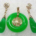 Prett Lovely Women's Wedding Green gem 18KGP Fortune Round Pendant Necklace Drop Earrings Set>AAA GP Bridal wid mujer moda