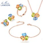 LAMOON 100% 925 <b>Sterling</b> <b>Silver</b> 4pcs Jewelry Sets For Women 3pcs Oval Gemstone Topaz Citrine Peridot Anniversary Jewelry V003-1
