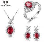 DOUBLE-R <b>Silver</b> 925 <b>Earrings</b> Ring Created Oval Ruby Gemstone Pendant Necklace Zircon Women Wedding Jewelry Sets