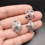 10pcs Bright Silver Flower Open Pearl Cage Locket Essential Oil Diffuser Pendant Beads Cage <b>Jewelry</b> Making <b>Supplies</b> Fun Gifts