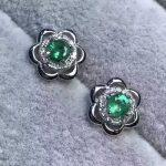 natural green emerald <b>earrings</b> 925 <b>silver</b> Natural gemstone <b>earring</b> women Elegant fashion flowers <b>earrings</b> for anniversary