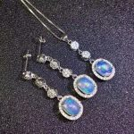 Natural multicolor opal wedding jewelry sets natural gemstone pendant <b>earrings</b> S925 <b>silver</b> Fashion Slender elongated women party