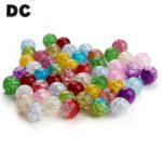 DC 100pcs/lot 6/8/10mm Round Mixed Colors Crackle Glass Beads Popcorn Crystal Spacer Ball Beads for DIY <b>Jewelry</b> Making <b>Supplies</b>