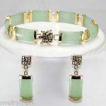 Prett Lovely Women's Wedding New <b>Jewelry</b> Natural Green gem Bracelet Earring Set>AAA GP Bridal wide watch wings silver-<b>jewelry</b>