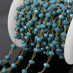 5Meters Candy blue Glass Bead Rondelle Chains,Faceted Beads Wire Wrapped Brass Rosary Chains Necklace <b>Jewelry</b> <b>supplies</b> 4x6mm