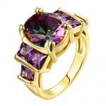 Purple crystal stone fine gold Colour women rings New Fashion zircon <b>Jewelry</b> wholesale factory <b>supply</b> customized design ok