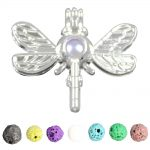 8pcs Silver Color Cute Dragonfly Design <b>Jewelry</b> Making <b>Supplies</b> Alloy Beads Cage Pendant Essential Oil Diffuser Trendy Locket Gi