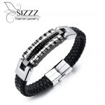 SIZZZ 21cm Long 13mm Wide Direct <b>supply</b> of stainless steel <b>jewelry</b> wholesale bracelet men's leather bracelet