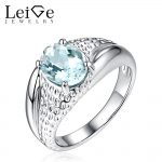 Leige Jewelry Oval Cut Natural Aquamarine <b>Ring</b> for Women March Birthstone 925 <b>Sterling</b> <b>Silver</b> Promise <b>Ring</b> Anniversary Gift